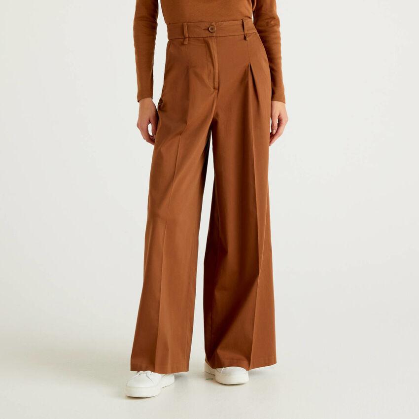 Pantaloni palazzo in raso misto cotone