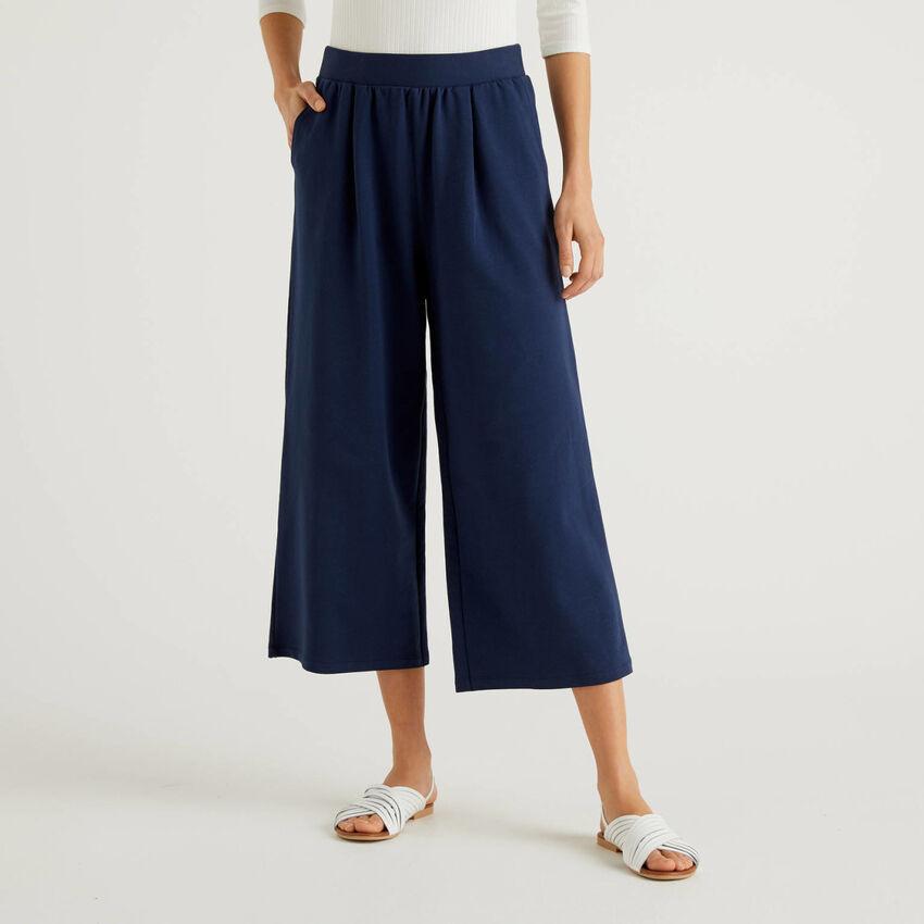 Pantaloni palazzo in felpa leggera