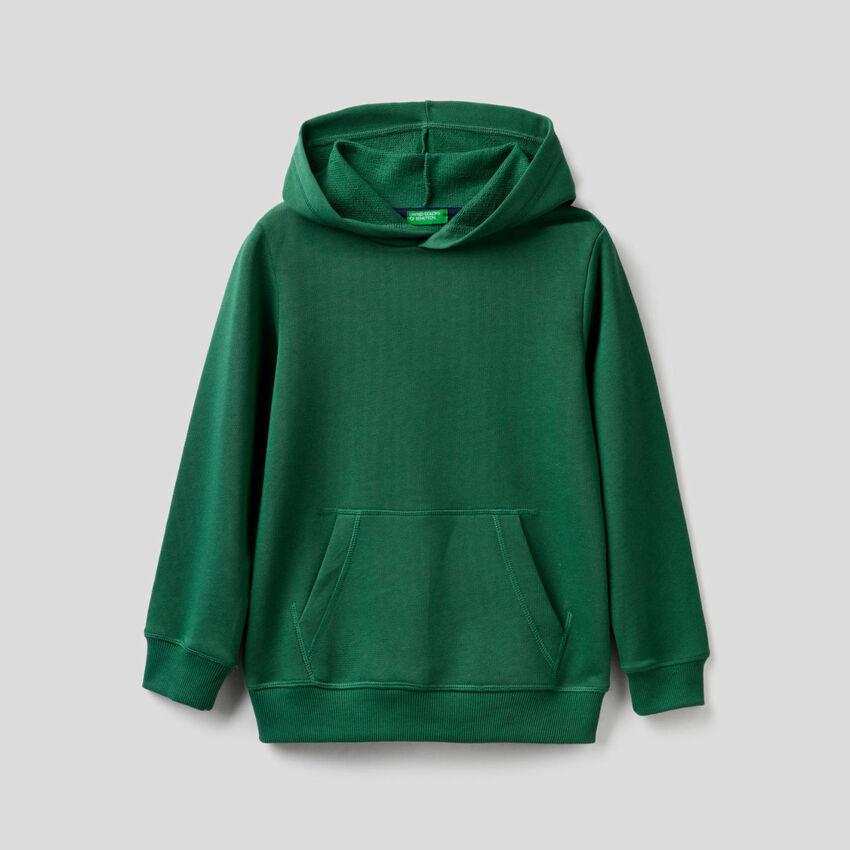 Felpa verde scuro con cappuccio