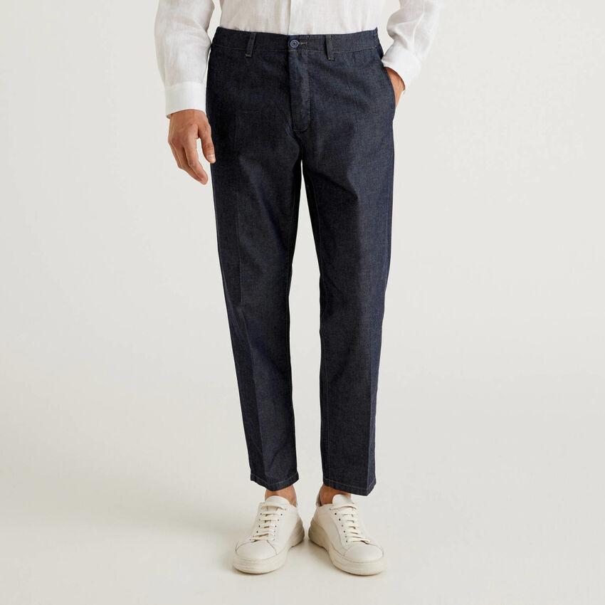 Pantaloni in chambray di cotone
