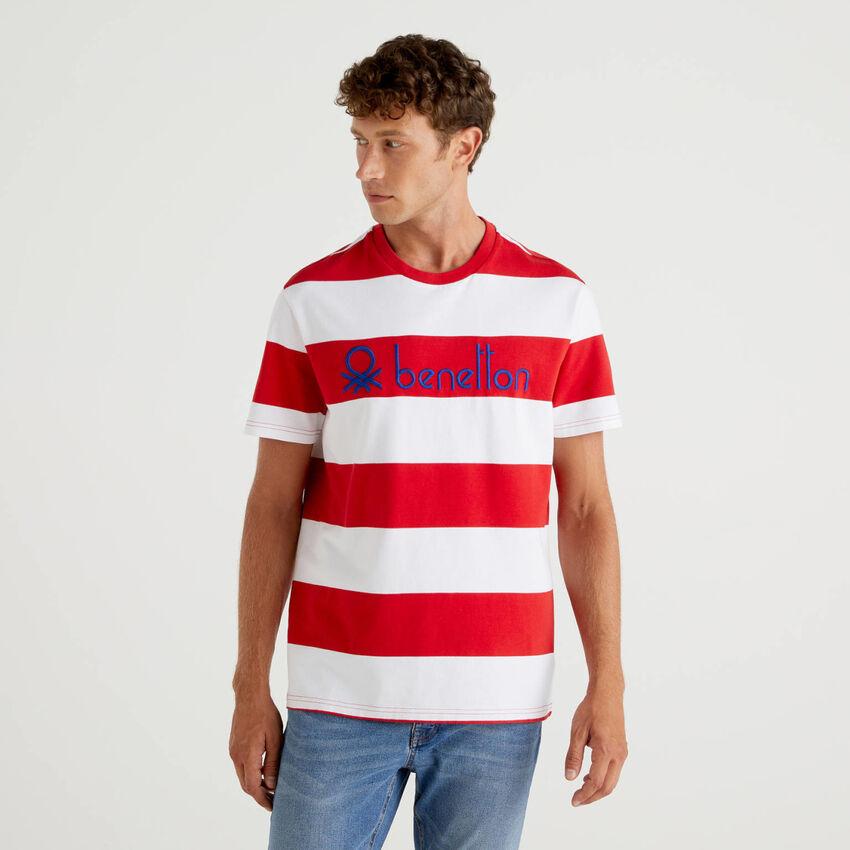 T-shirt a righe 100% cotone biologico
