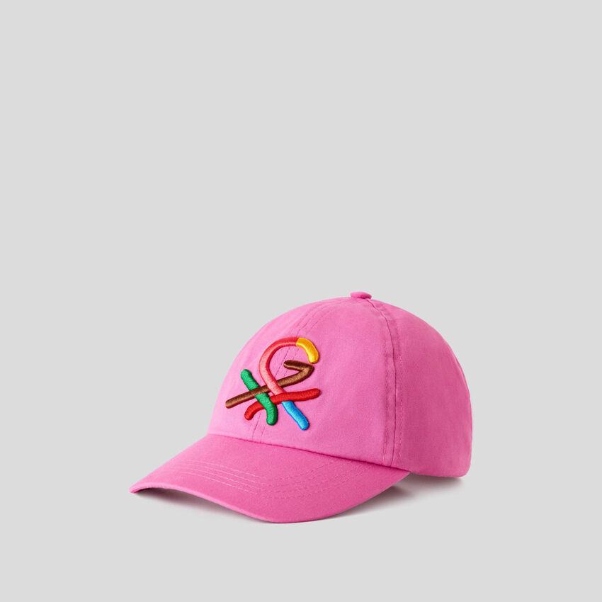 Cappellino fucsia con logo ricamato by Ghali