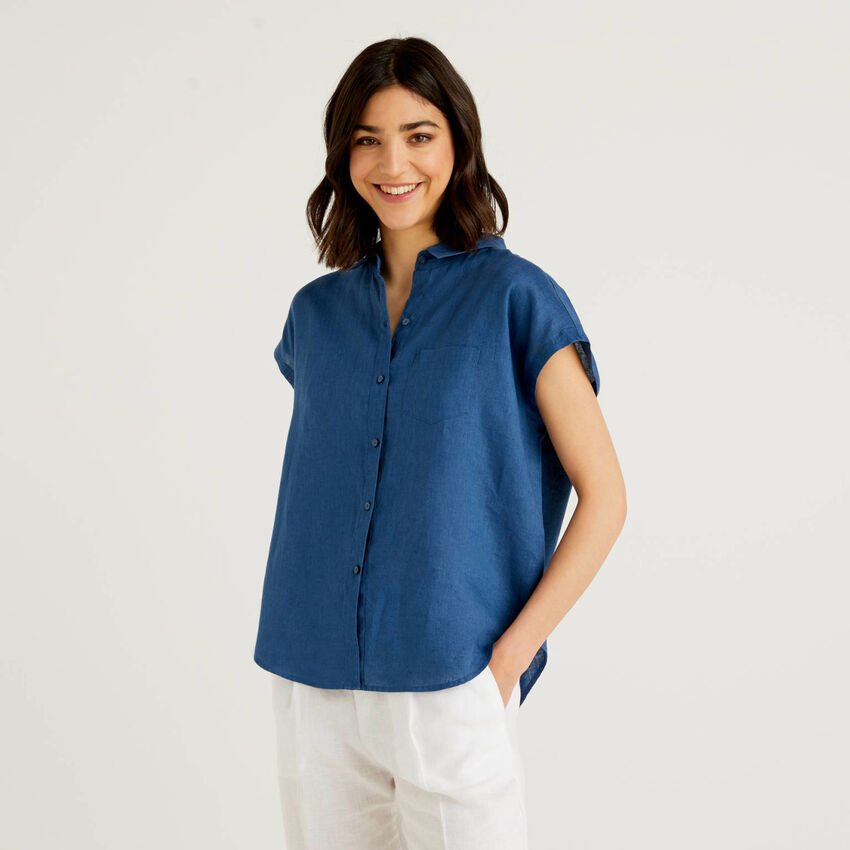 Camicia 100% lino a manica corta
