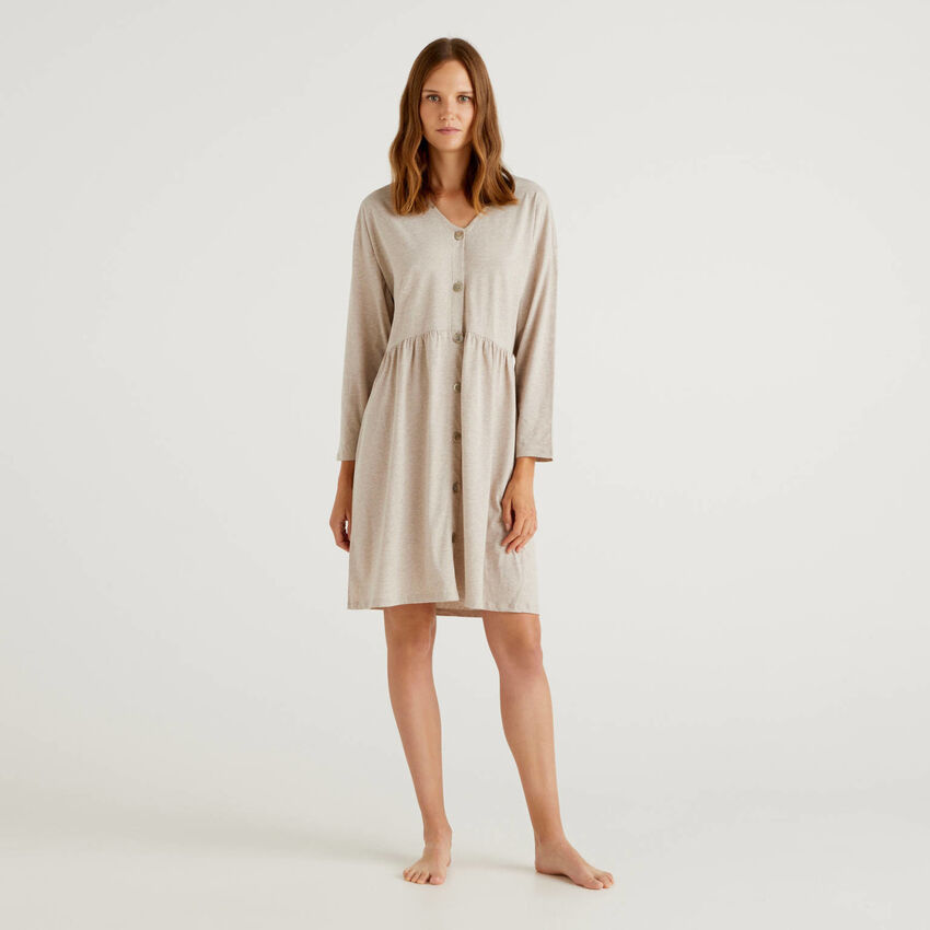 Camicia da notte in cotone a fibra lunga