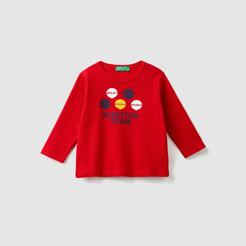 T-shirt a costine con stampa
