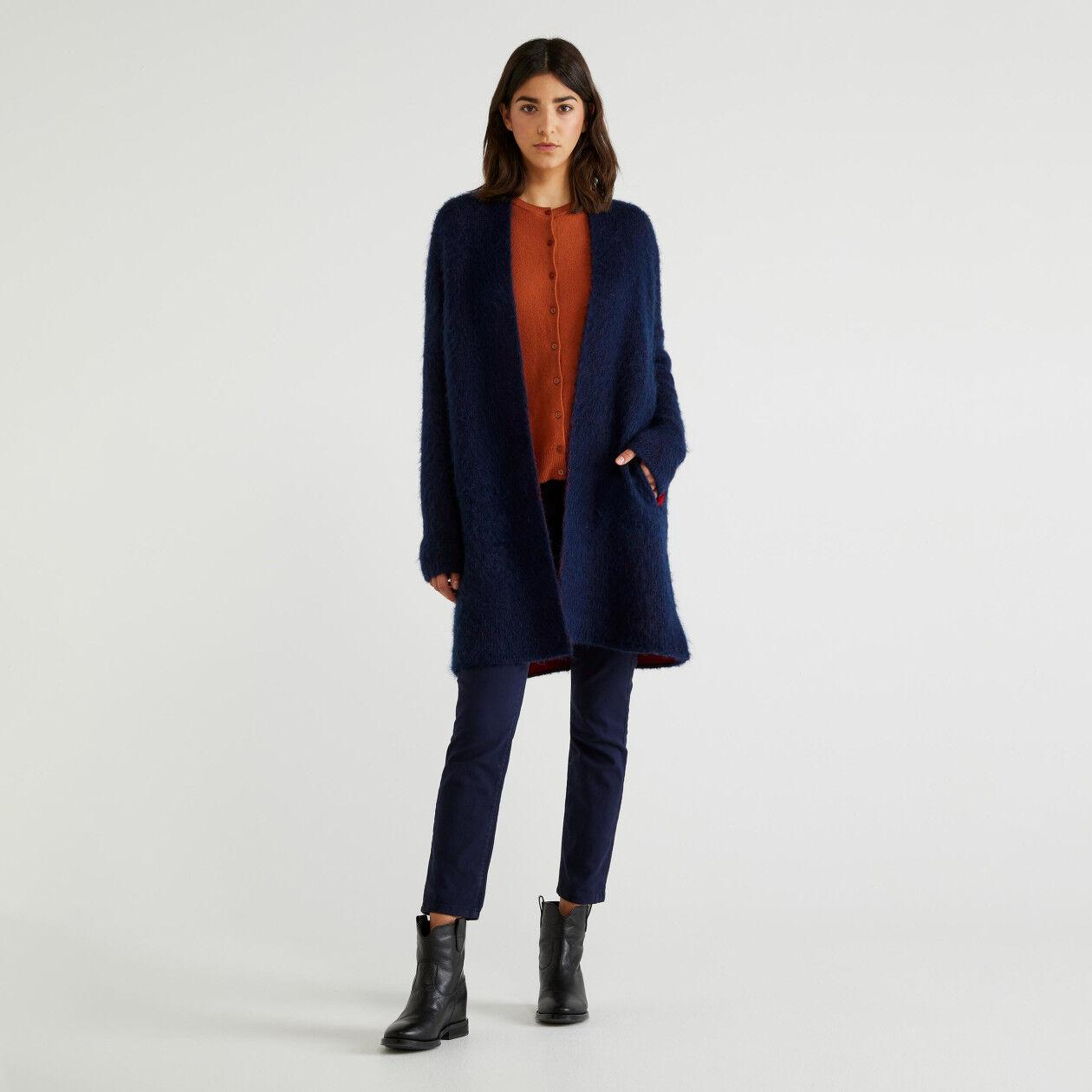 Cappotto in maglia bicolor