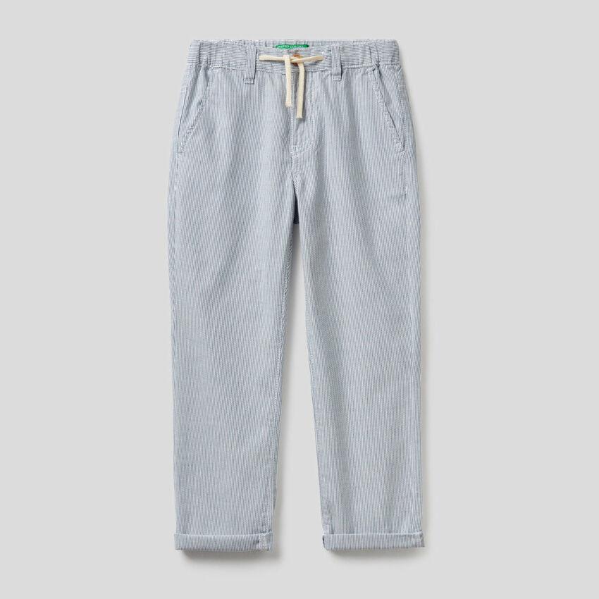 Pantaloni a righe in 100% cotone