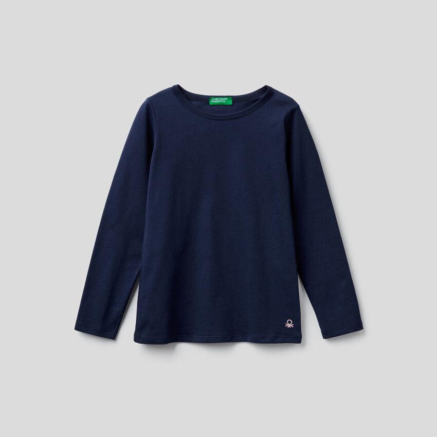 T-shirt blu scuro a manica lunga