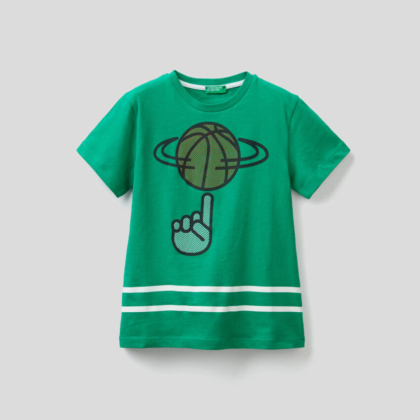 T-shirt in cotone con stampa 3D