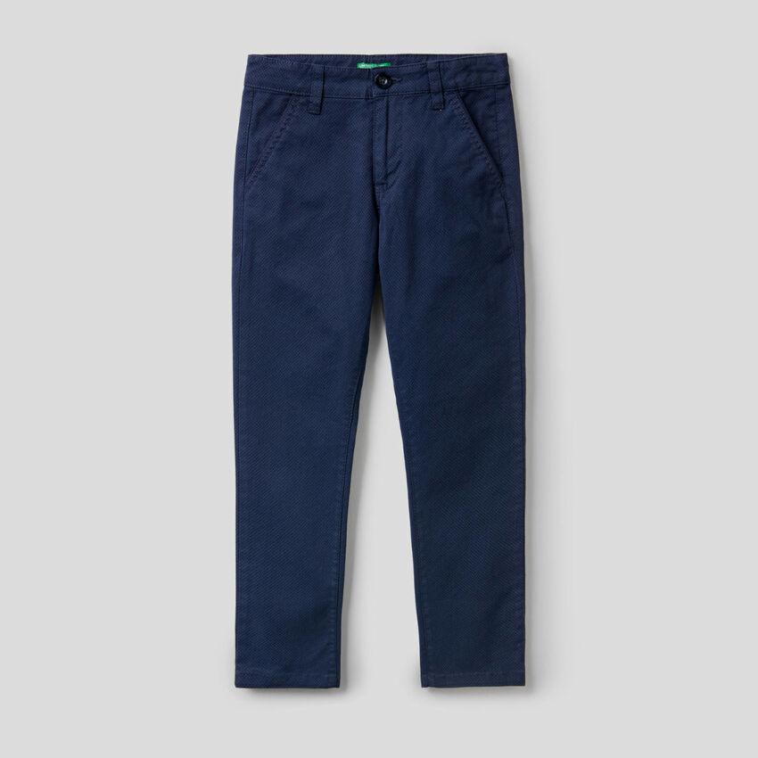 Pantaloni in cotone stretch stampato
