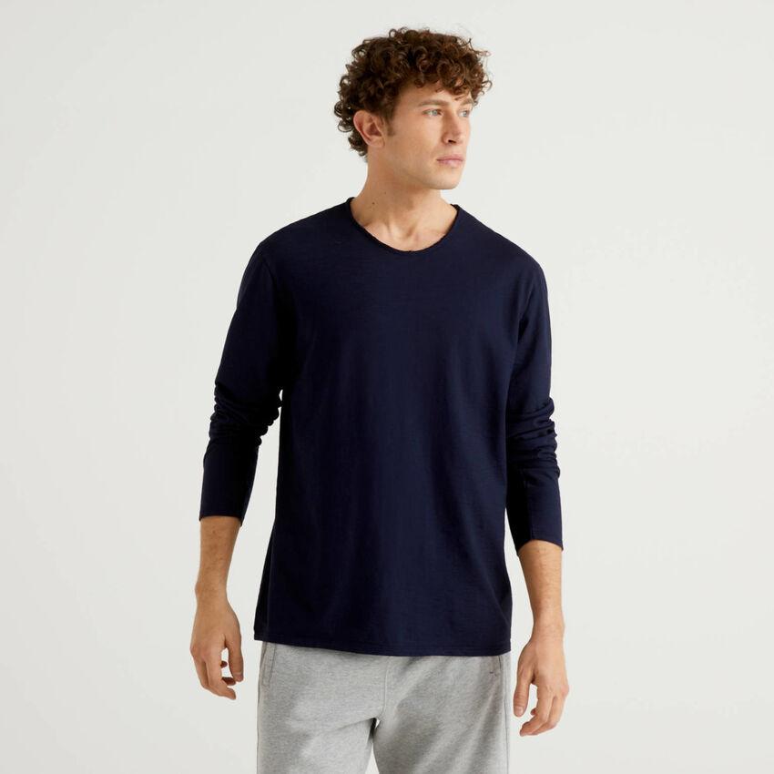 T-shirt a manica lunga in 100% cotone