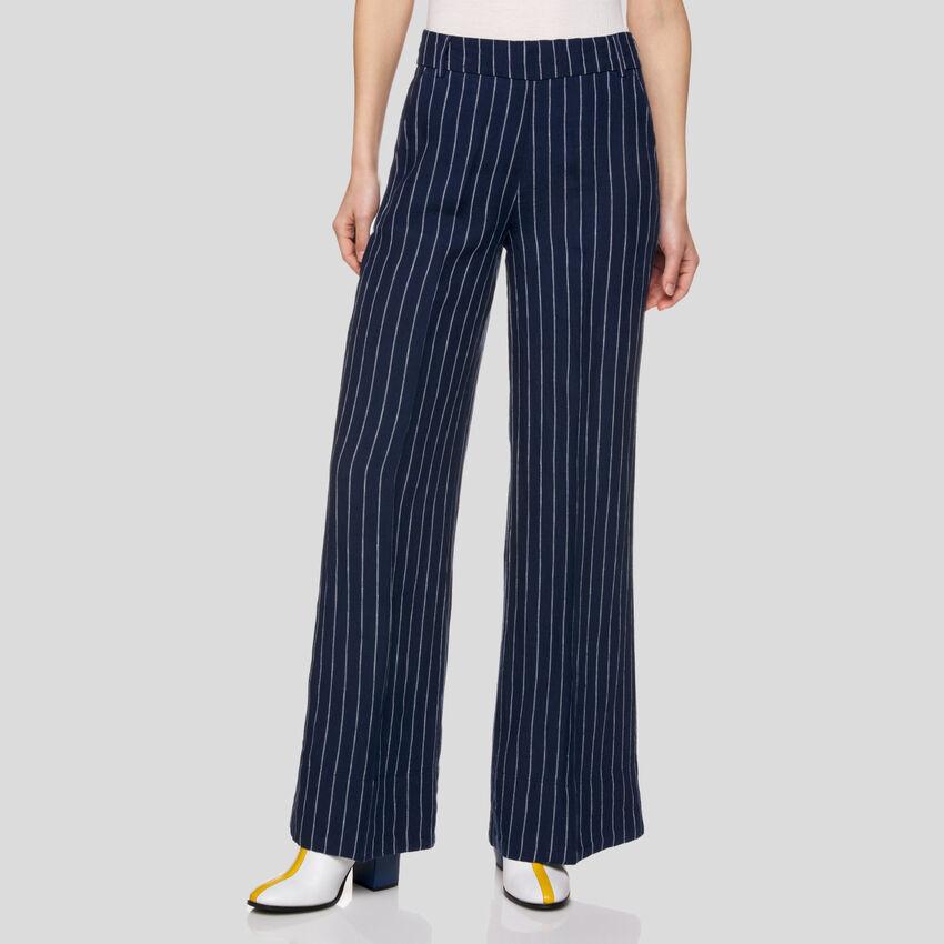 Pantaloni a righe in puro lino