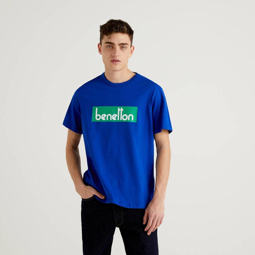 T-shirt bluette con stampa logo