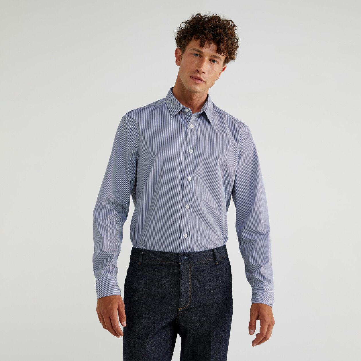 Camicia in cotone tinto filo