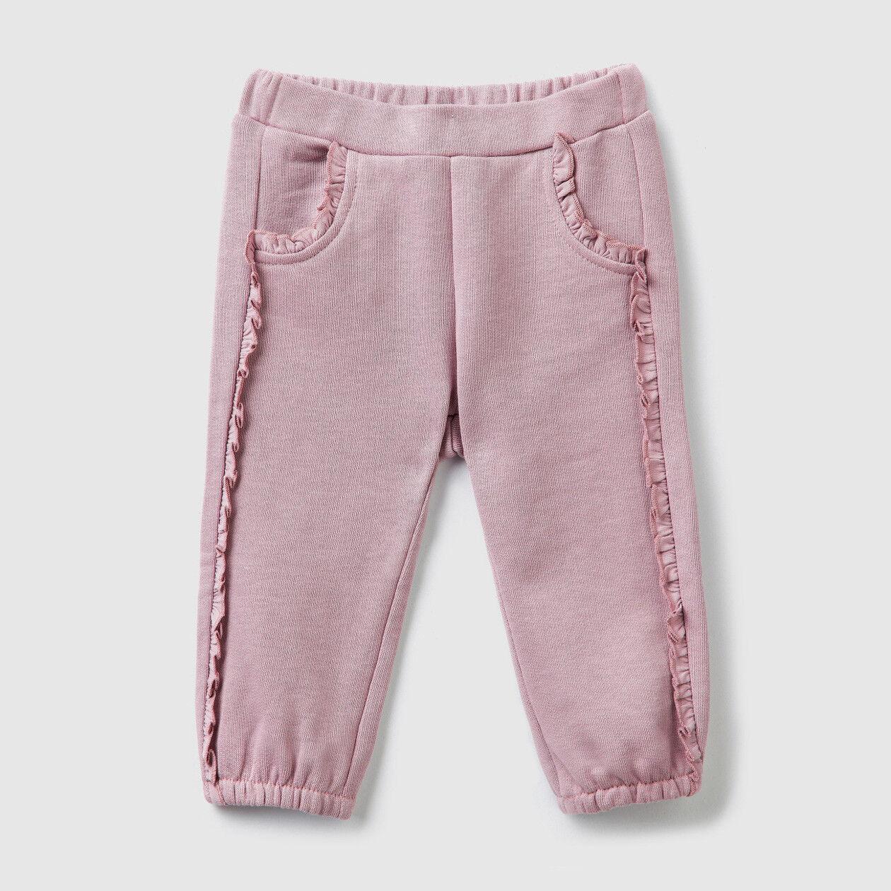 Pantaloni in felpa con rouches