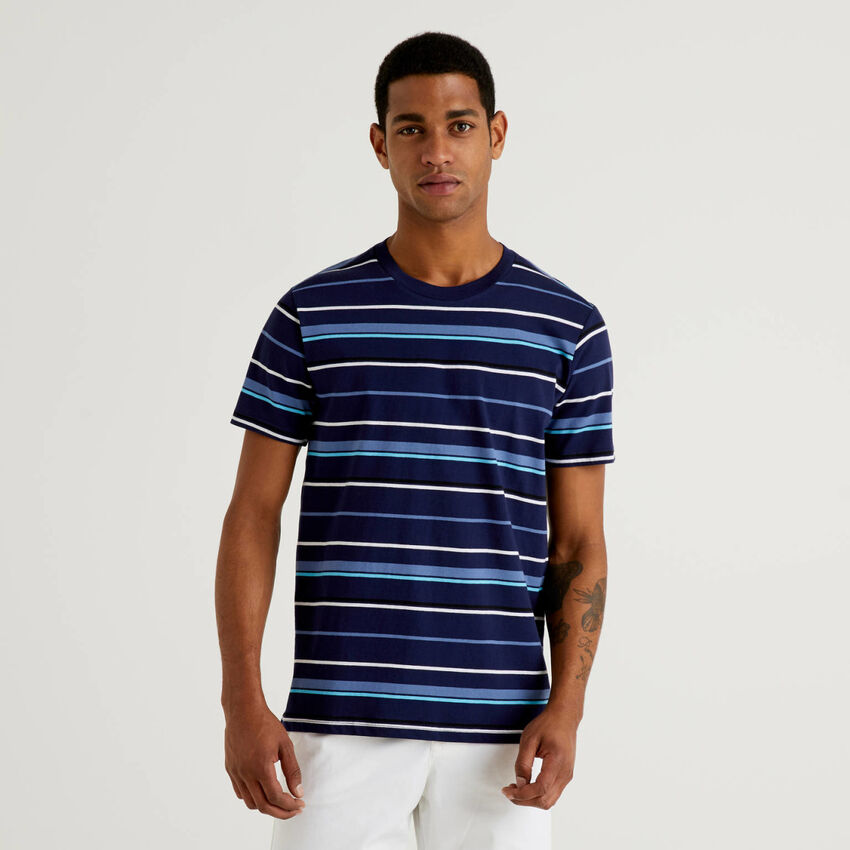 T-shirt a righe in 100% cotone