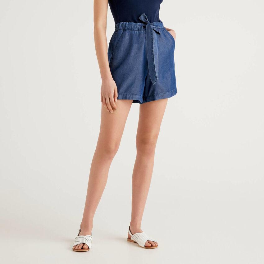 Shorts fluidi effetto jeans