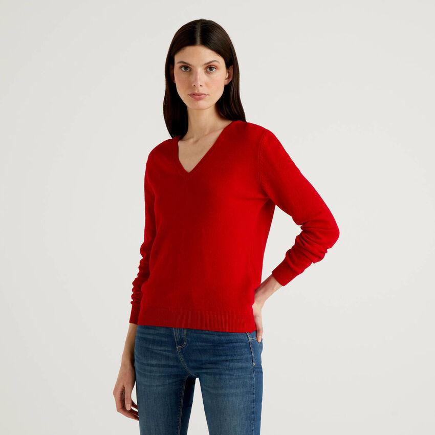 Maglia con scollo a V in pura lana vergine