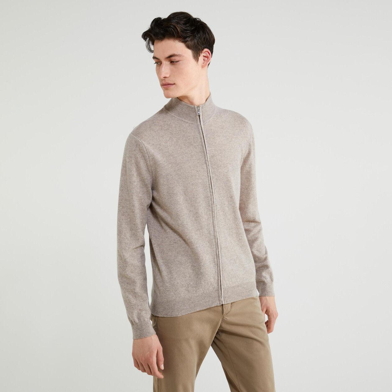 Cardigan con zip 100% lana vergine