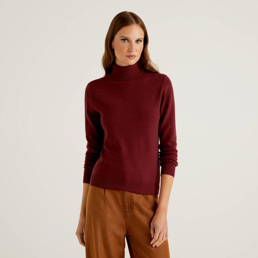 Maglione dolcevita bordeaux in pura lana vergine