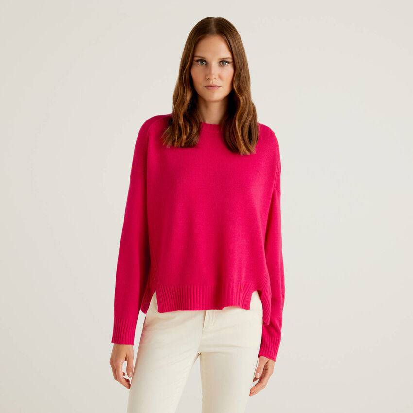 Maglione misto lana con spacchetti