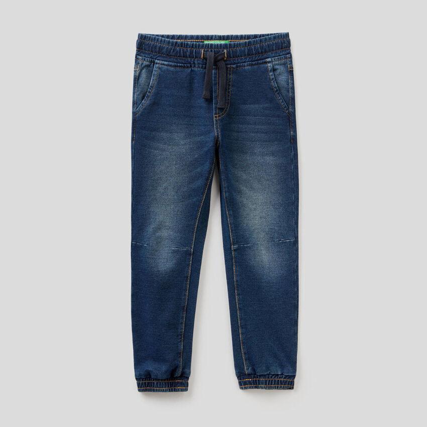 Pantaloni in felpa stretch effetto denim