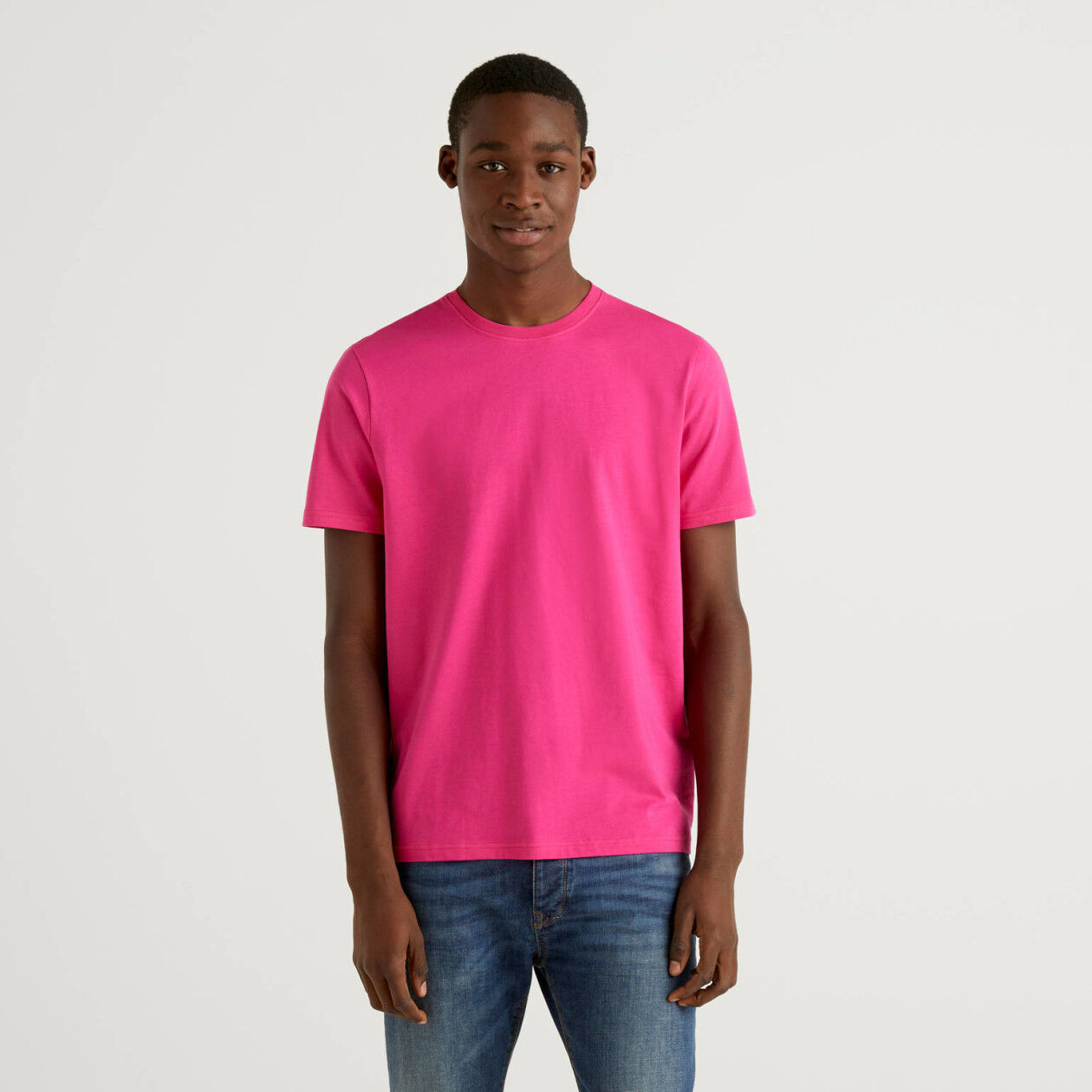 T-shirt fucsia in puro cotone