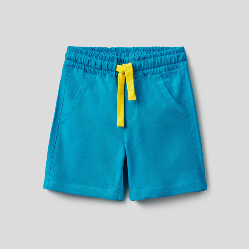 Shorts tinta unita in puro cotone