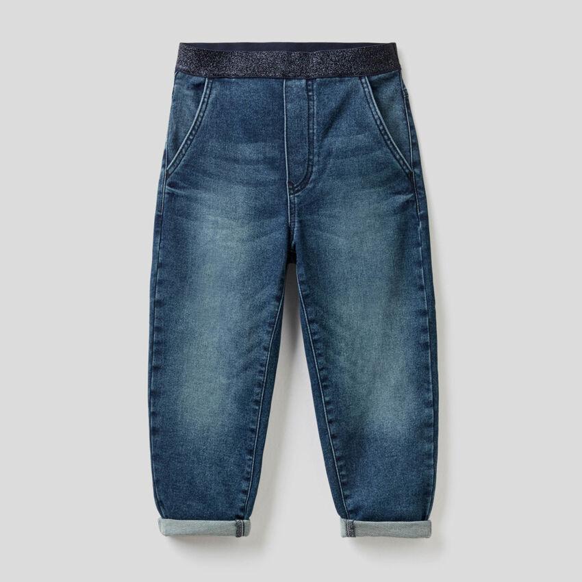 Jeans a palloncino con elastico in vita