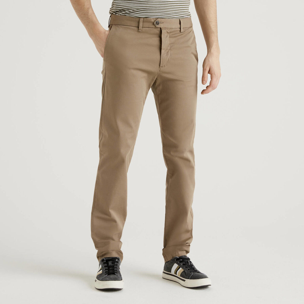 Chino stretch slim fit grigio tortora