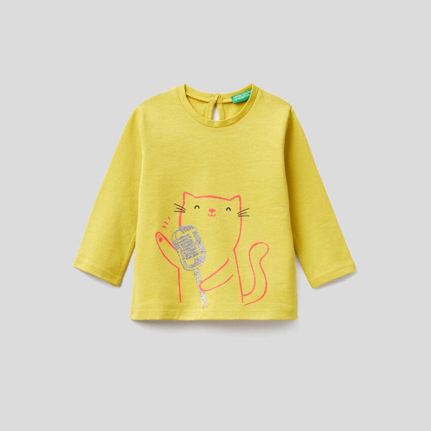 T-shirt manica lunga in puro cotone bio