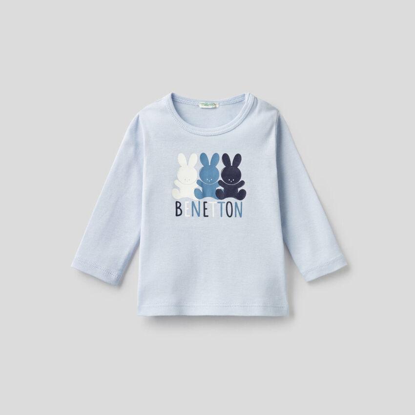 T-shirt manica lunga in 100% cotone bio