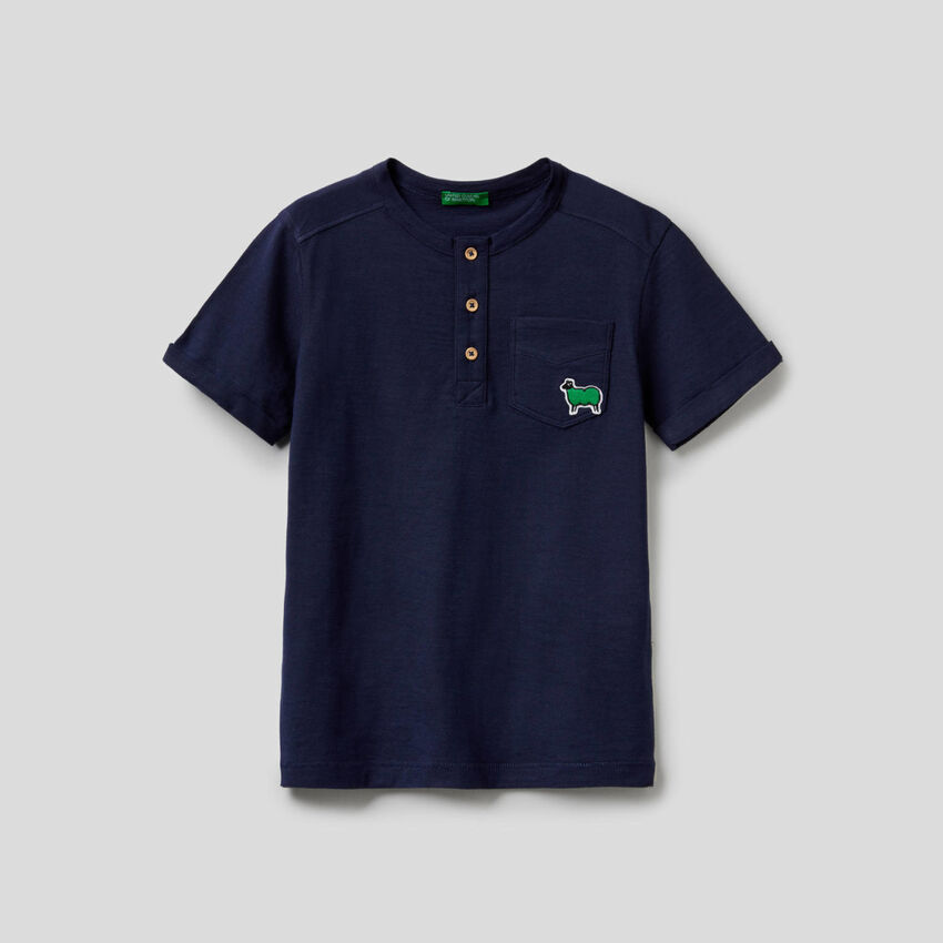 T-shirt serafino in puro cotone