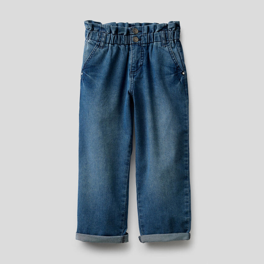 Jeans paperbag in misto cotone stretch