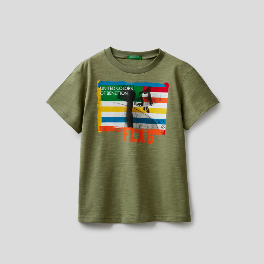 T-shirt in cotone con stampa surf