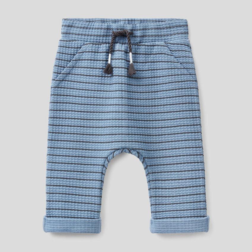 Pantaloni a righe in cotone biologico