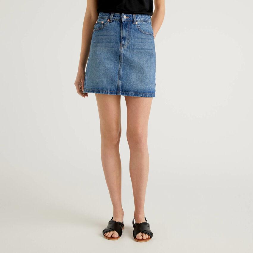 Minigonna in jeans 100% cotone