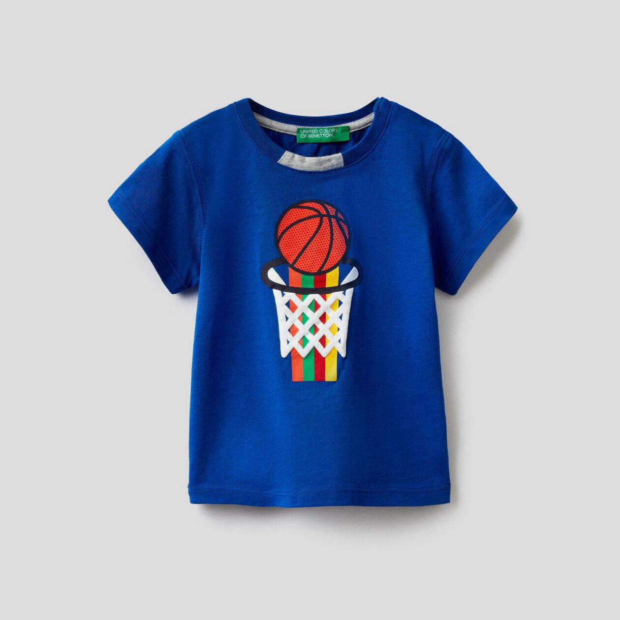 T-shirt 100% cotone con stampa multicolor
