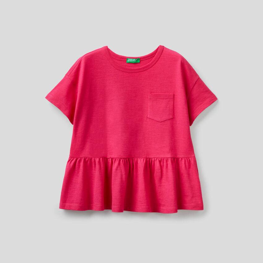 T-shirt in puro cotone con balza