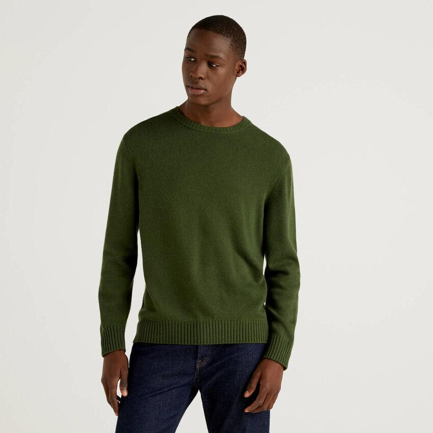 Maglia girocollo in misto lana e cashmere