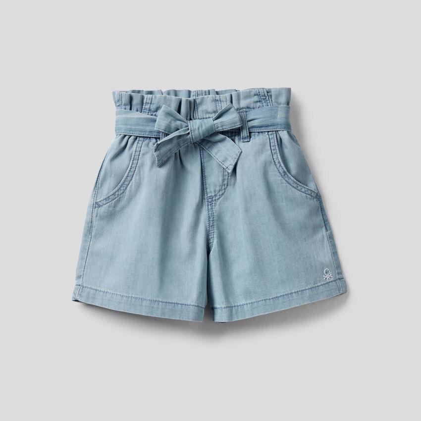 Shorts a vita alta in 100% cotone