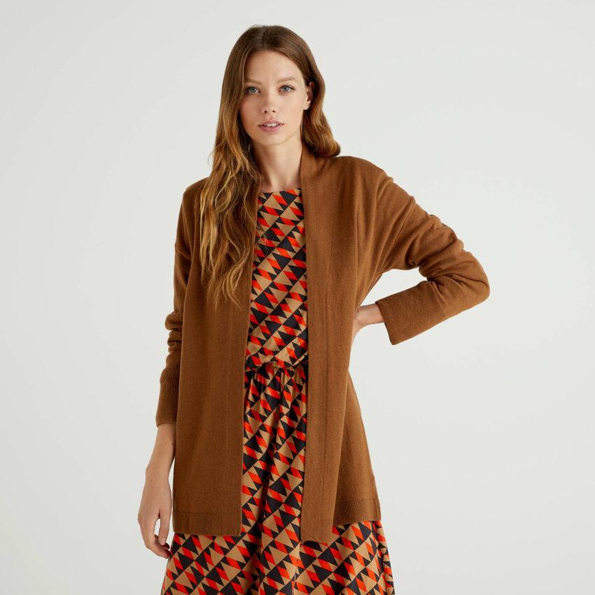 Cardigan marrone in misto lana e cashmere