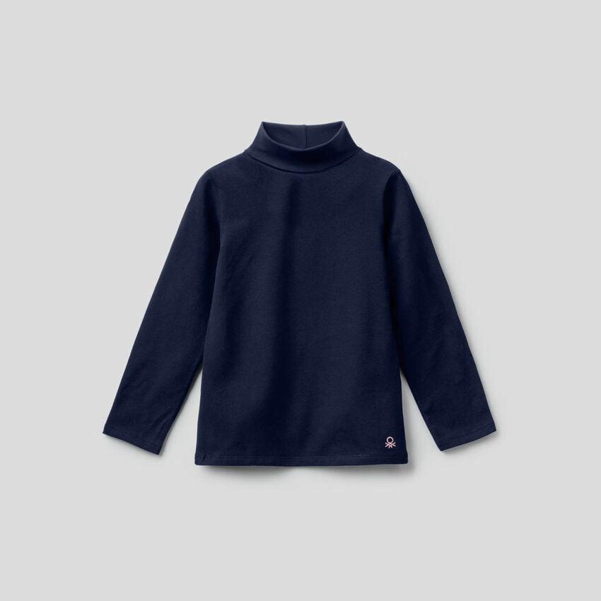 T-shirt in cotone stretch con collo alto