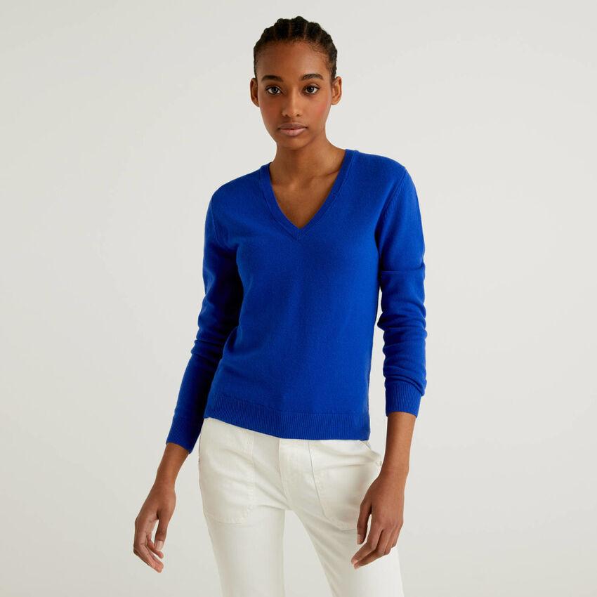 Maglia con scollo a V bluette in pura lana vergine