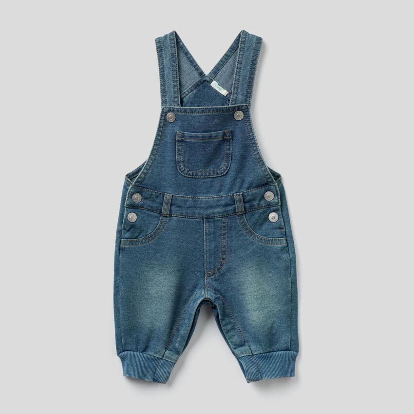 Salopette in felpa effetto jeans