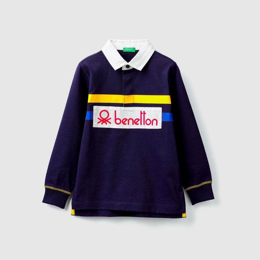 Polo in jersey con logo