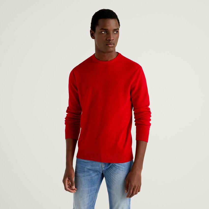 Maglia girocollo rossa in pura lana vergine