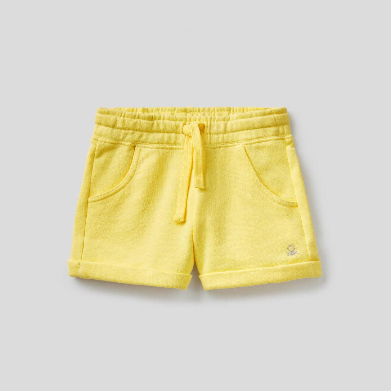 Shorts in felpa di puro cotone