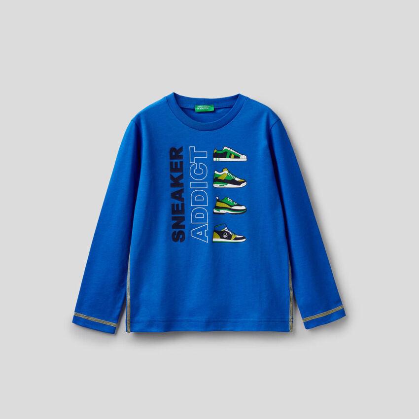 T-shirt bluette a manica lunga 100% cotone