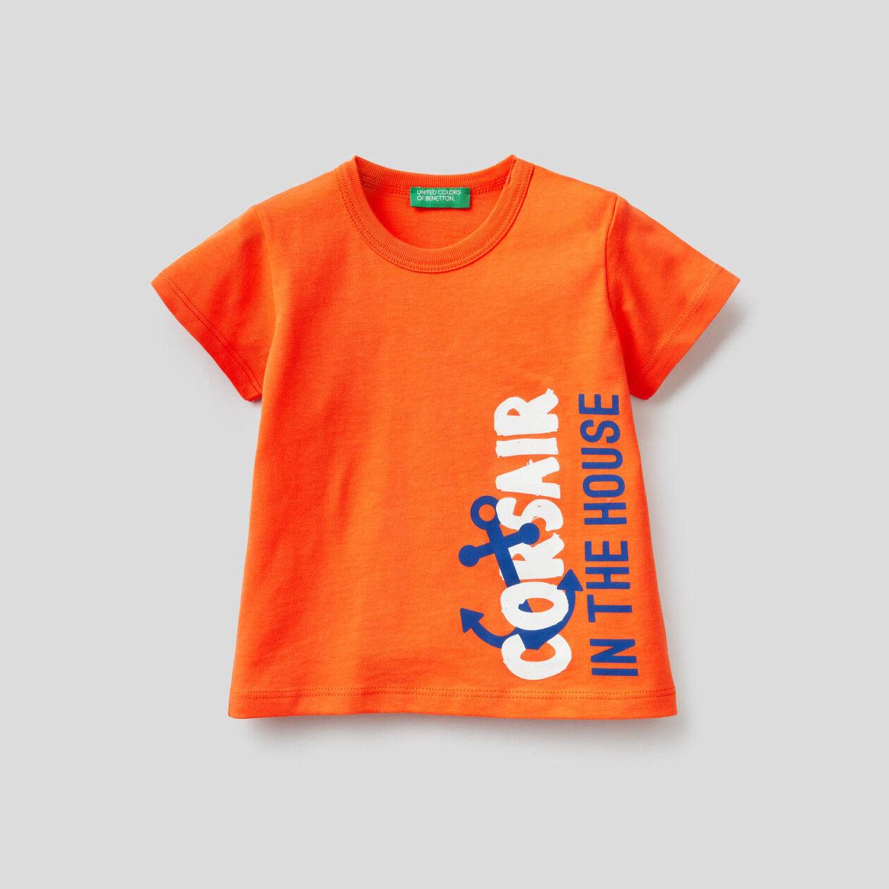 T-shirt 100% cotone con maxi stampa